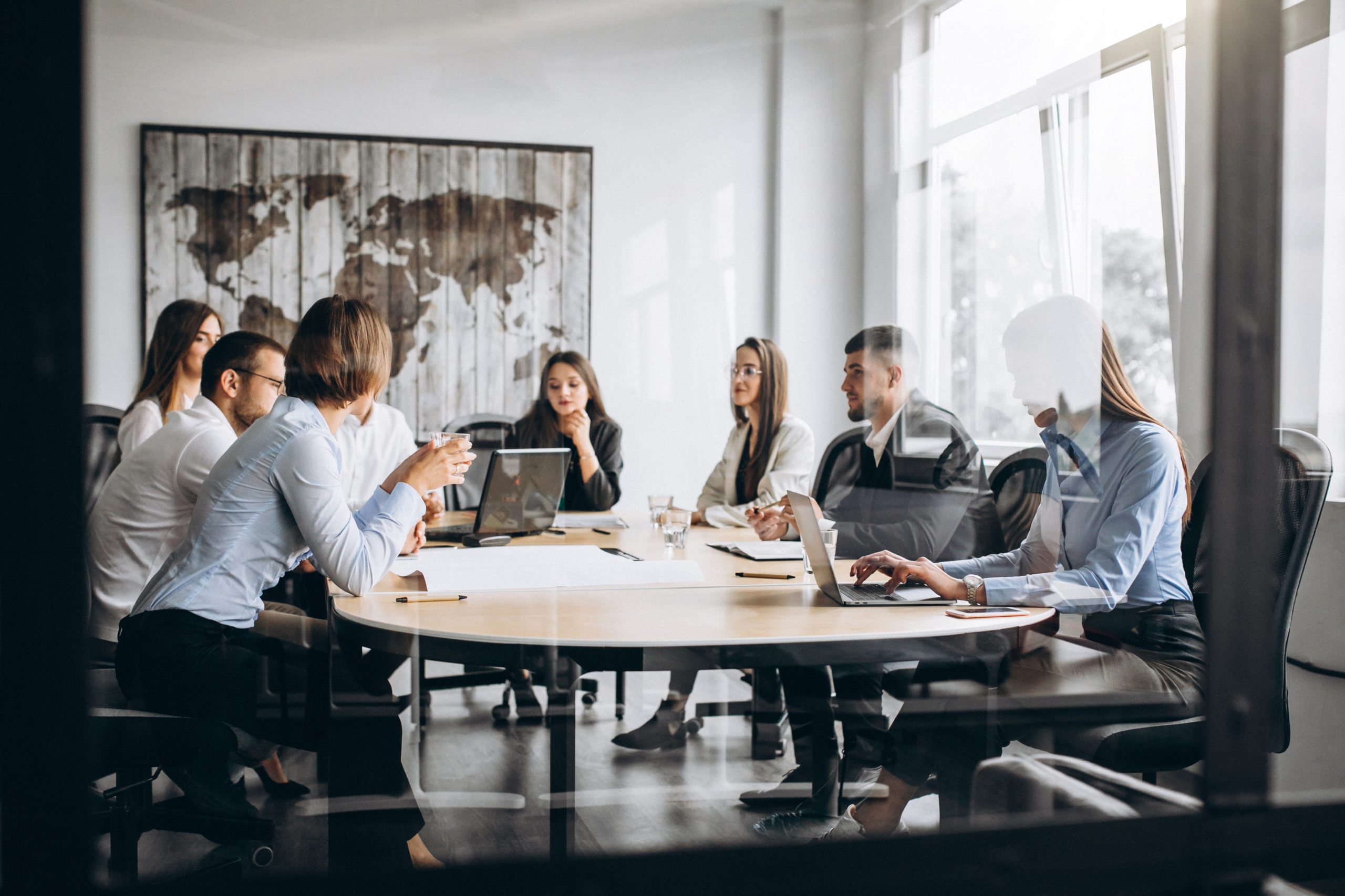 Group of people having a business meeting in an office